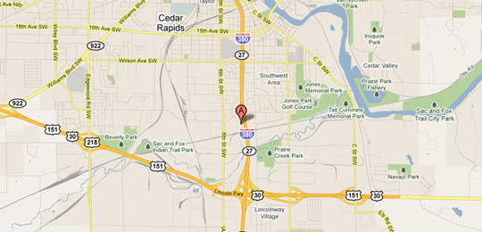 Map of Cedar Rapids Sales Office